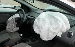 [Airbags and modules are important protection in a front-end wrecked cars]