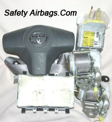 Steering wheel and dashboard airbags